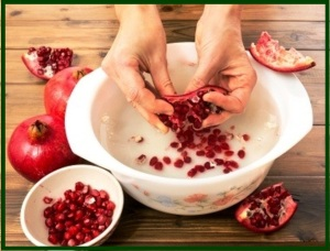 washing pomegranate