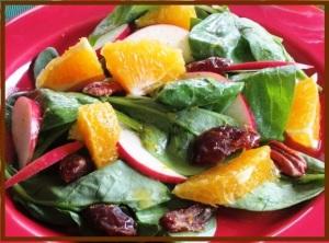 Dates-orange-spinach salad