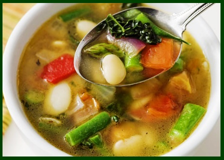 Vegetable soup with coconut oil