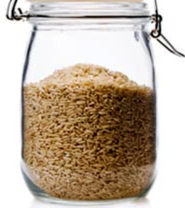 brown rice in a jar