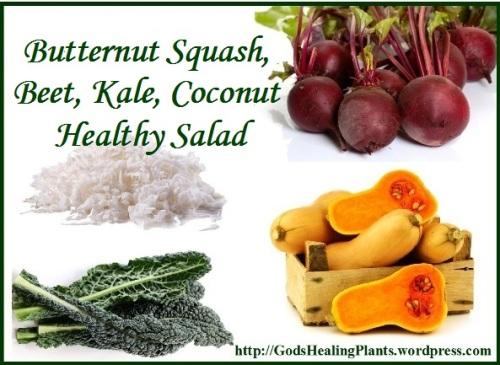 squash, beat, kale salad