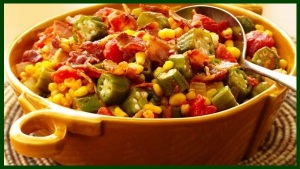 Okra stew with tomatoes and corn