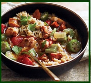 Okra with rice and chicken