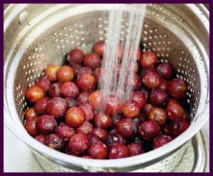 Washing plums