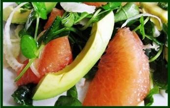 Argula, grapefruit, avocado salad